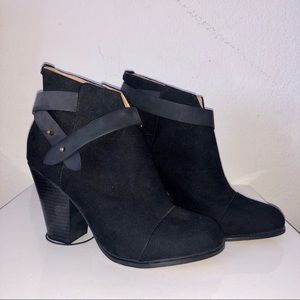 Shoes - Faux Suede with Faux Leather Ankle Wrap Booties